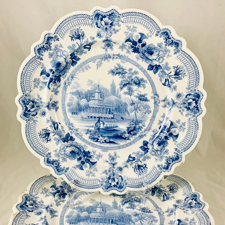 English British Theme 'Royal Sketches' Blue on White Transferware Dinner Plates, Set/6 For Sale