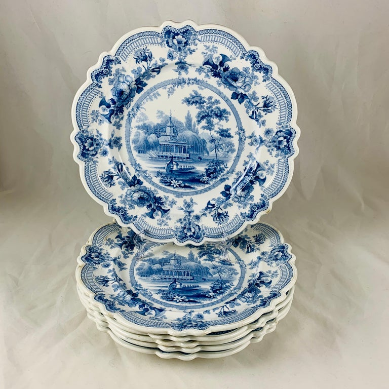 Glazed British Theme 'Royal Sketches' Blue on White Transferware Dinner Plates, Set/6 For Sale