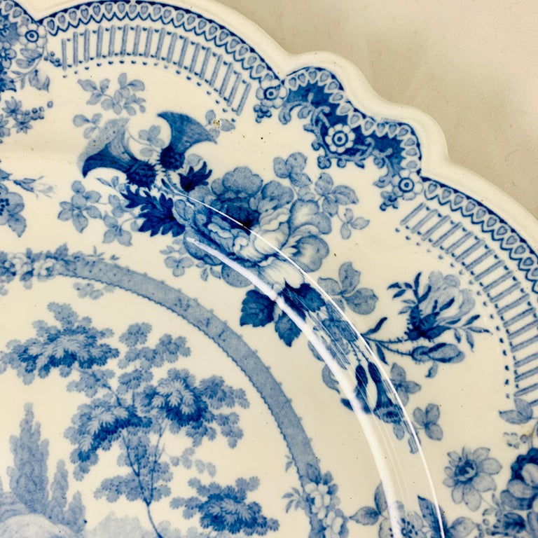19th Century British Theme 'Royal Sketches' Blue on White Transferware Dinner Plates, Set/6 For Sale