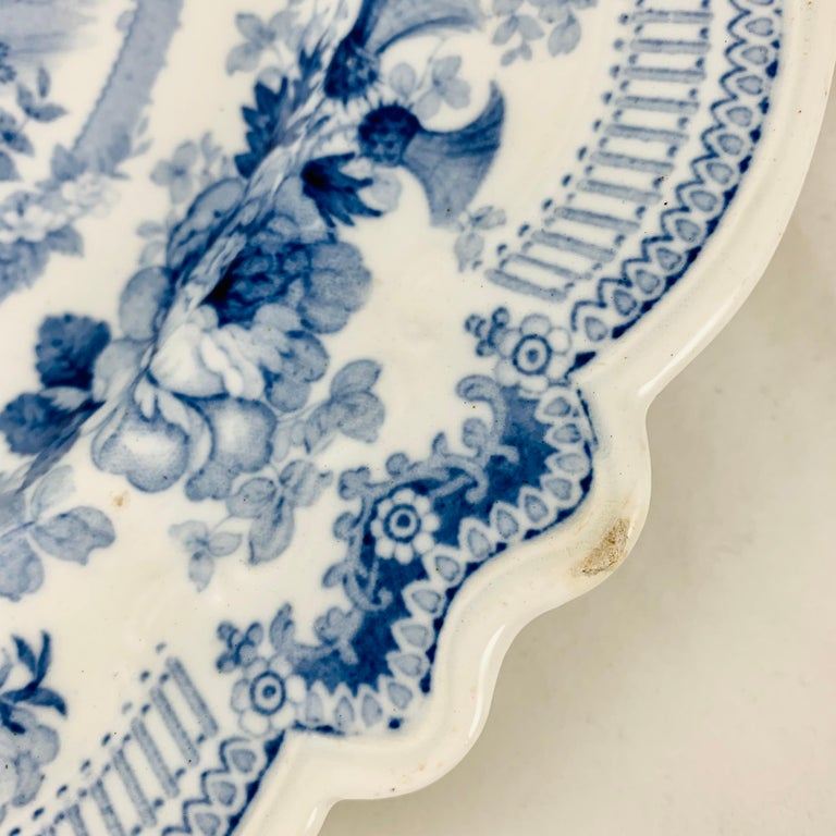 Earthenware British Theme 'Royal Sketches' Blue on White Transferware Dinner Plates, Set/6 For Sale