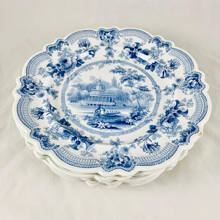 British Theme 'Royal Sketches' Blue on White Transferware Dinner Plates, Set/6 For Sale 1