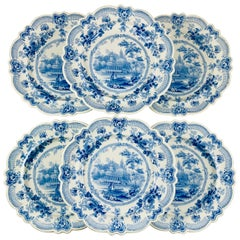 British Theme 'Royal Sketches' Blue on White Transferware Dinner Plates, Set/6