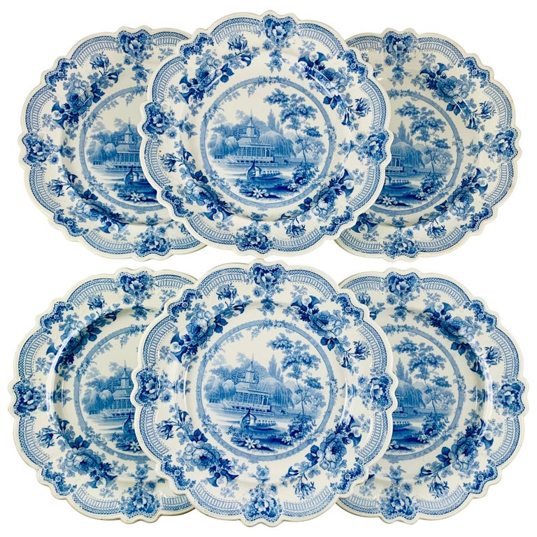 British Theme 'Royal Sketches' Blue on White Transferware Dinner Plates, Set/6 For Sale