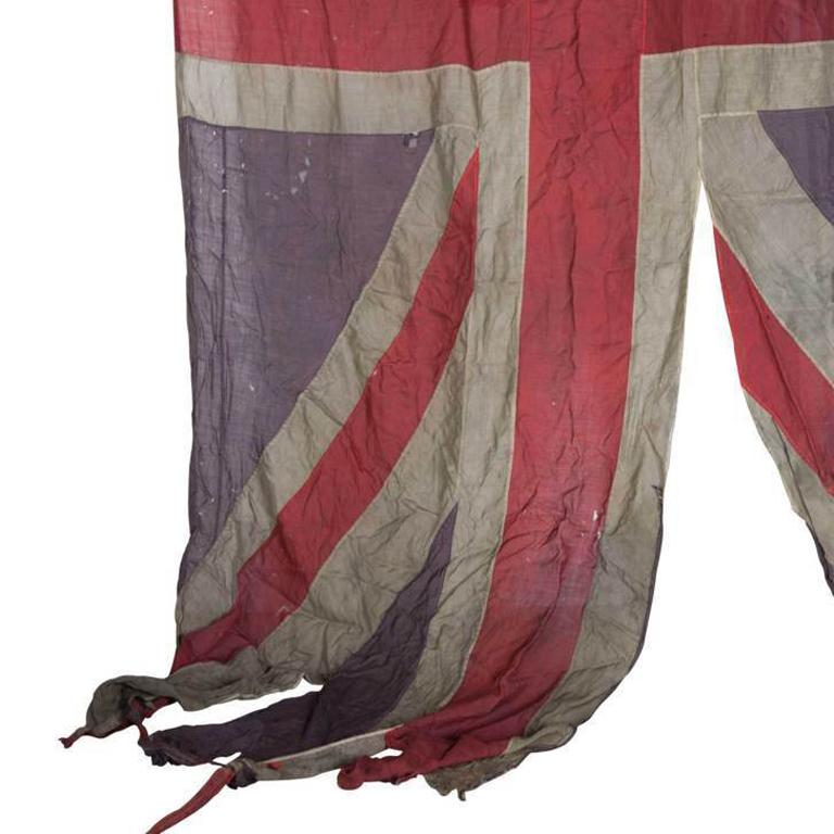 Victorian British Union Jack Flag from the 19th Century in a Heavily Distressed Condition For Sale