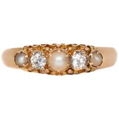 British Victorian Pearl and Diamond Five-Stone Ring, circa 1864