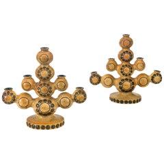 Britt-Louise Sundell for Gustavsberg  Pair of Swedish Stoneware Candelabra