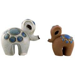 """Britt-Louise Sundell for Gustavsberg, Two """"Ringo 1"""" Baby Elephants in Ceramics"""