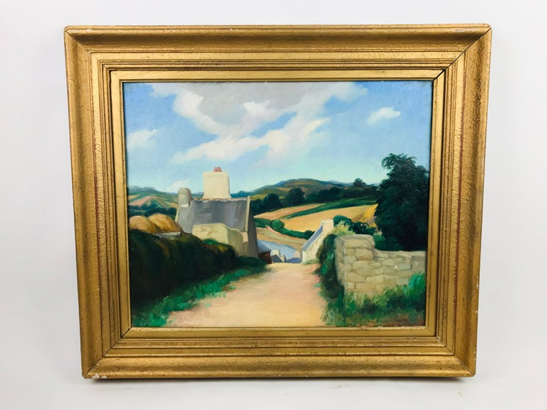 An incredible oil on board by listed artist Alexander Warshawsky (1887-1945). Signed lower right and label on reverse.   Brittany, France.... what more can be said of this ancient town. From the Caesars Roman Centurions to Napoleons Grande Armee,