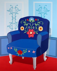 Blue chair in blue room - figurative painting