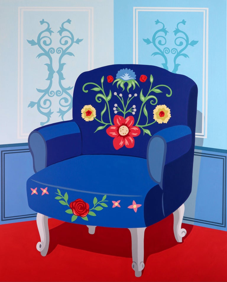 Britty Em Figurative Painting - Blue chair in blue room - figurative painting
