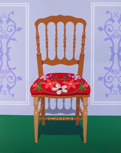 Red spindle chair - figurative painting