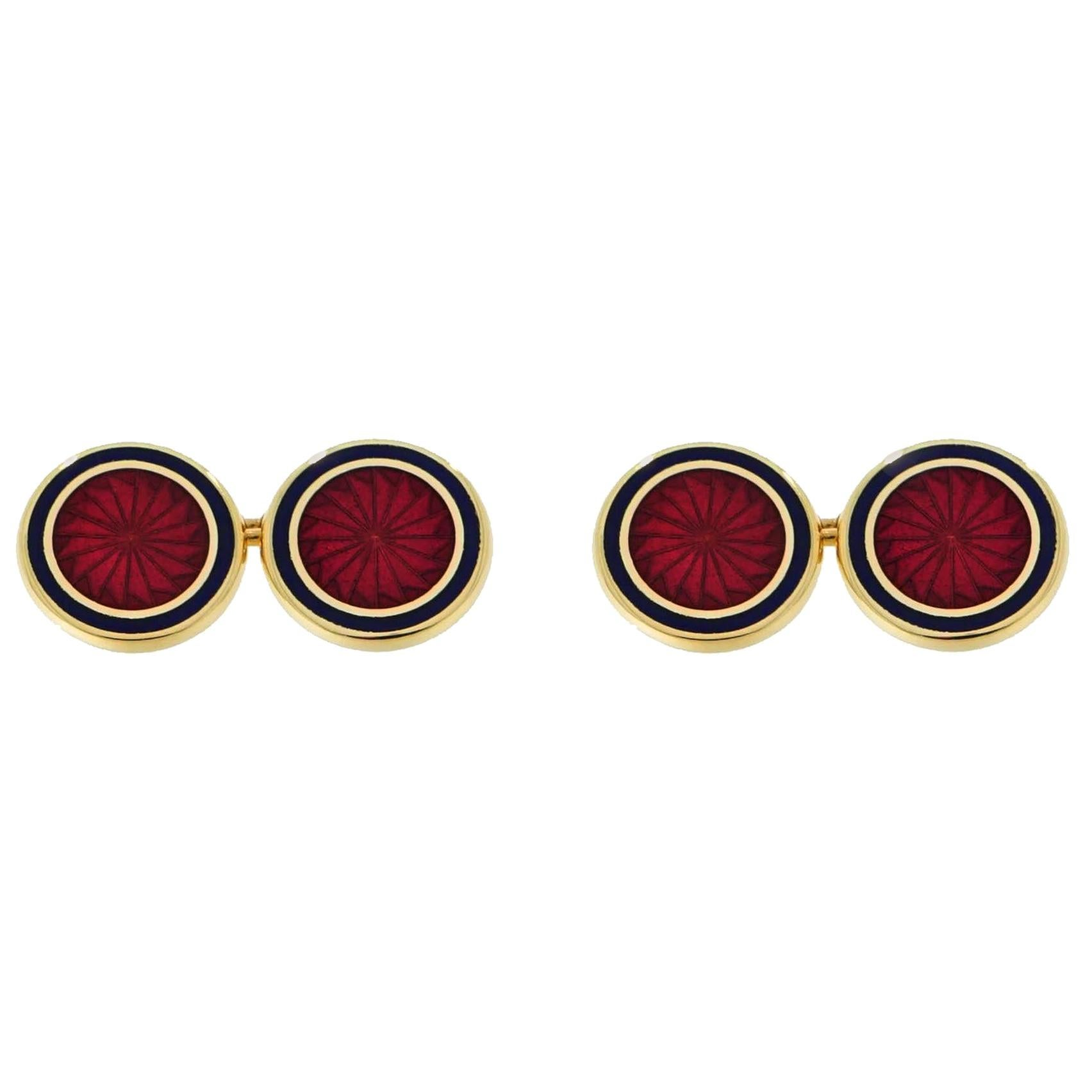 Brixton and Gill Double-Sided Yellow Gold Enamel Cufflinks