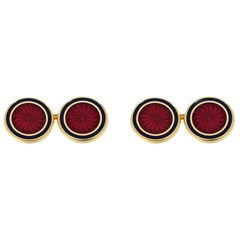 Vennari Italian Ruby Crystal Gold And Enamel Double