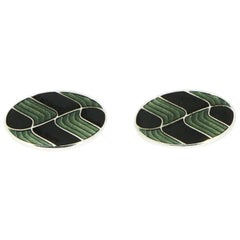 Brixton & Gill Green or Black Enameled Oval Cufflinks