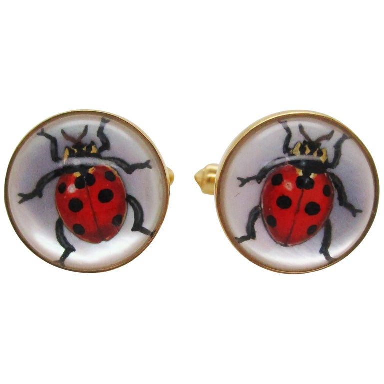 Brixton & Gill Reverse Carved Quartz Mother of Pearl 18K Gold Ladybug Cufflinks For Sale