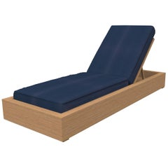 Brixton Teak Chaise Lounge 'Grade A' Wire Brushed Natural Wood, Cast Navy