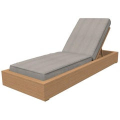 Brixton Teak Chaise Lounge 'Grade A' Wire Brushed Natural Wood, Cast Silver