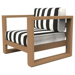 Brixton Teak Lounge Chair 'Grade A': Wire Brushed Natural Wood, Cabana Classic