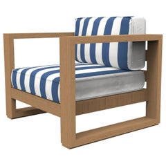 Brixton Teak Lounge Chair 'Grade A': Wire Brushed Natural Wood, Cabana Regatta