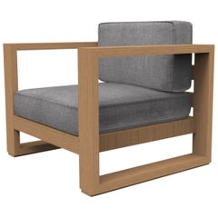 Brixton Teak Lounge Chair 'Grade A': Wire Brushed Natural Wood, Cast Slate