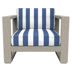 Brixton Teak Lounge Chair 'Grade A' Wire Brushed Weathered Gray, Cabana Regatta