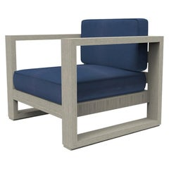 Brixton Teak Lounge Chair 'Grade A' Wire Brushed Weathered Gray, Canvas Navy