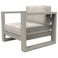 Brixton Teak Lounge Chair 'Grade A': Wire Brushed Weathered Gray, Cast Silver