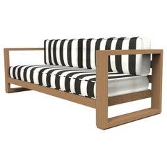 Brixton Teak Sofa 'Grade A': Wire Brushed Natural Wood, Cabana Classic
