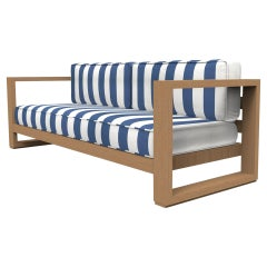 Brixton Teak Sofa 'Grade A': Wire Brushed Natural Wood, Cabana Regatta
