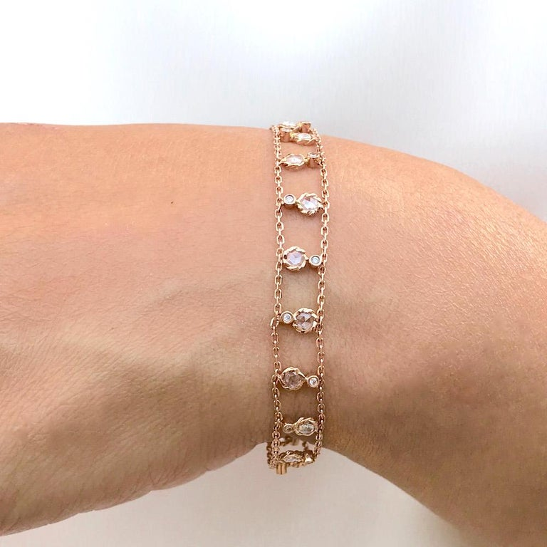 Drape your wrist with this precious ribbon made with delicate gold chain and sparkly diamonds. Brizo rose cut diamond ribbon bracelet features 15 sets of rose and brilliant cut diamond that alternate and spread along between two rails of delicate