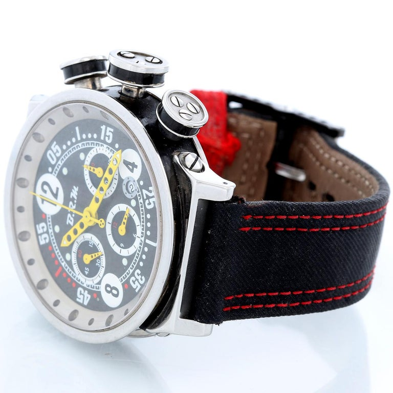 B.R.M. Ringmaster Men's Automatic Watch Ref V16-46-AJ - Automatic winding. Titanium ( 46 MM). Black dial with yellow hands; Hours, Minutes, Seconds, Chronograph. Black B.R.M. strap with red leather stitching . Pre-owned with BRM with box and books.