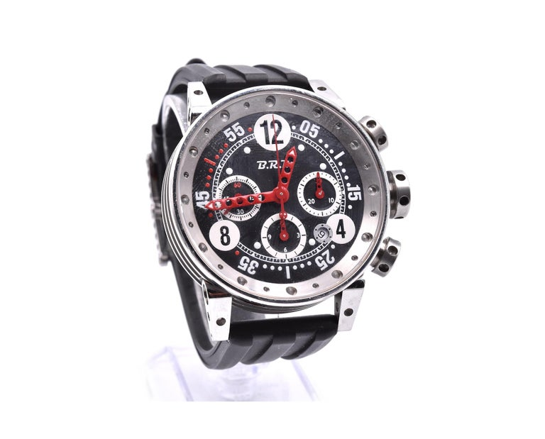 Movement: automatic Function: hours, minutes, seconds, chronograph, date Case: 44mm stainless steel case with fixed bezel, pull/push crown and pushers, sapphire protective crystal Band: black rubber strap with steel buckle Dial: black dial, red