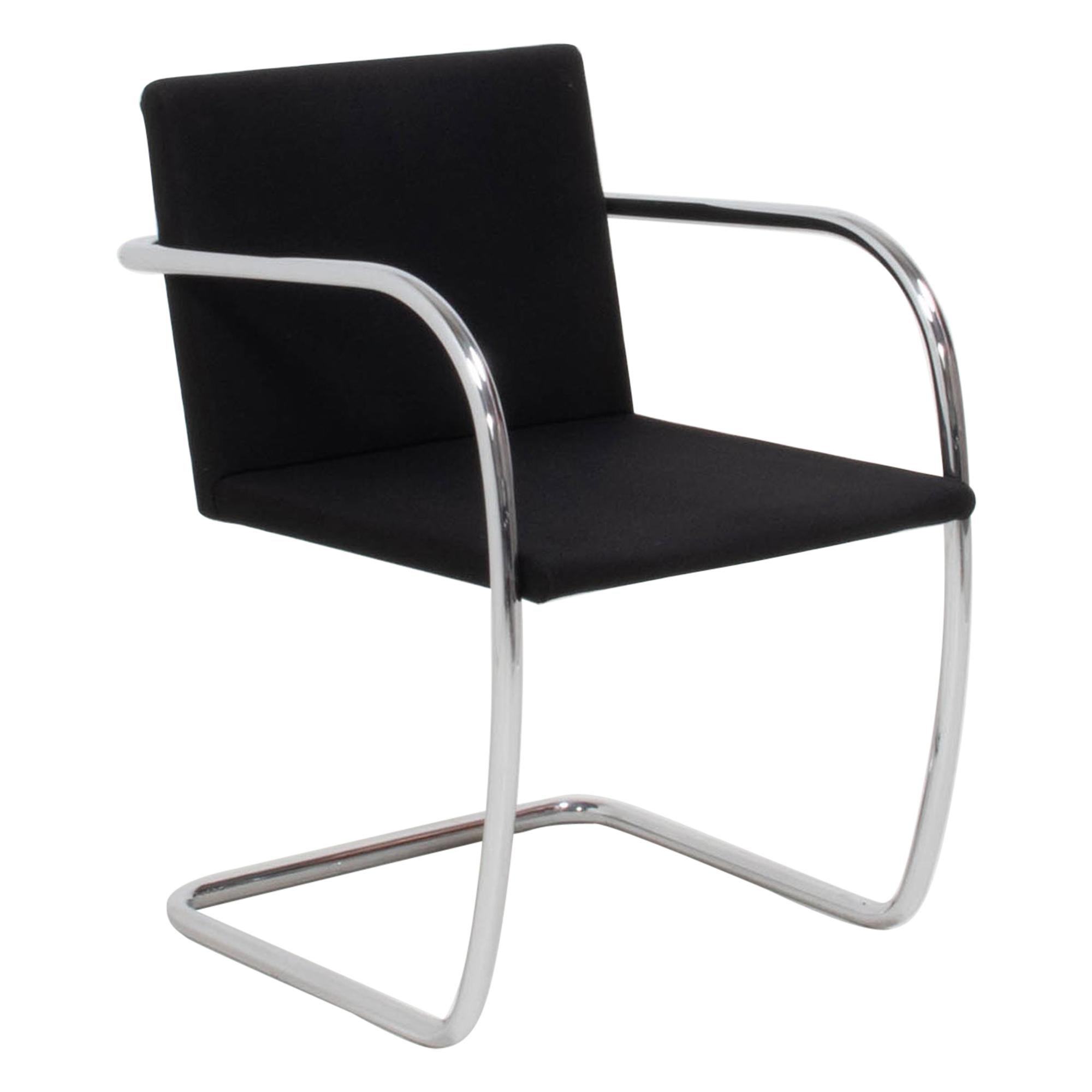 Brno Black Fabric Tubular Dining Chairs by Knoll