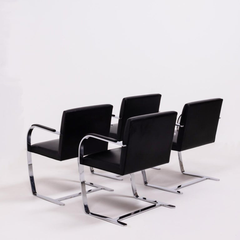 Italian Brno Black Flat Bar Chairs, Knoll, Set of 4 For Sale