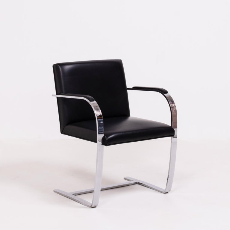 Early 2000s Brno Black Flat Bar Chairs, Knoll, Set of 4 For Sale