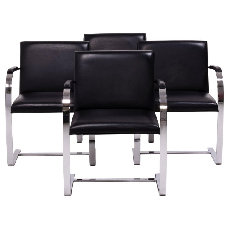 Brno Black Flat Bar Chairs, Knoll, Set of 4 For Sale
