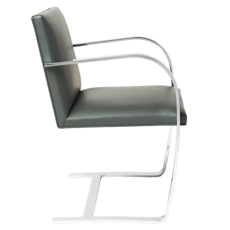 Brno Chair in Elephant Grey Leather by Mies van der Rohe for Knoll