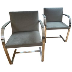 Brno Chairs by Ludwig Mies van der Rohe, Newly Plated, Upholstered in Mohair