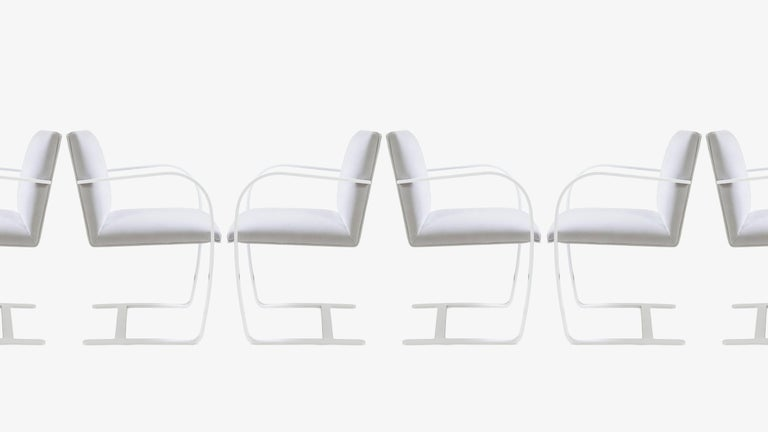 American Brno Flat-Bar Chairs in Dove Velvet, Lunar Gloss Frame For Sale