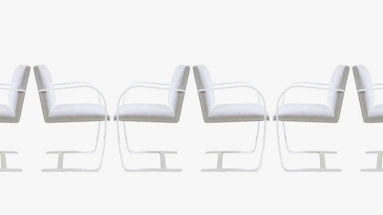 American Brno Flat-Bar Chairs in Dove Velvet, Lunar Gloss Frame, Set of Ten For Sale