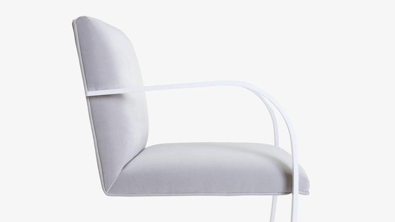 Powder-Coated Brno Flat-Bar Chairs in Dove Velvet, Lunar Gloss Frame, Set of Ten For Sale