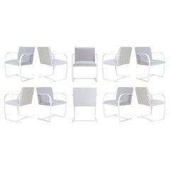 Brno Flat-Bar Chairs in Dove Velvet, Lunar Gloss Frame, Set of Ten