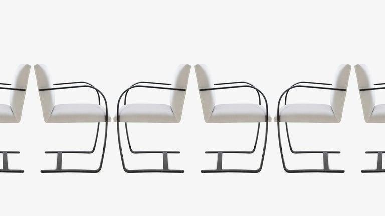 American Brno Flat-Bar Chairs in Dove Velvet, Obsidian Gloss Frame, Set of Six For Sale