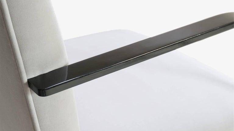 Upholstery Brno Flat-Bar Chairs in Dove Velvet, Obsidian Gloss Frame, Set of Six For Sale