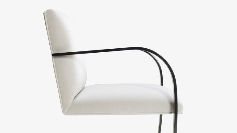 Powder-Coated Brno Flat-Bar Chairs in Dove Velvet, Obsidian Gloss Frame For Sale