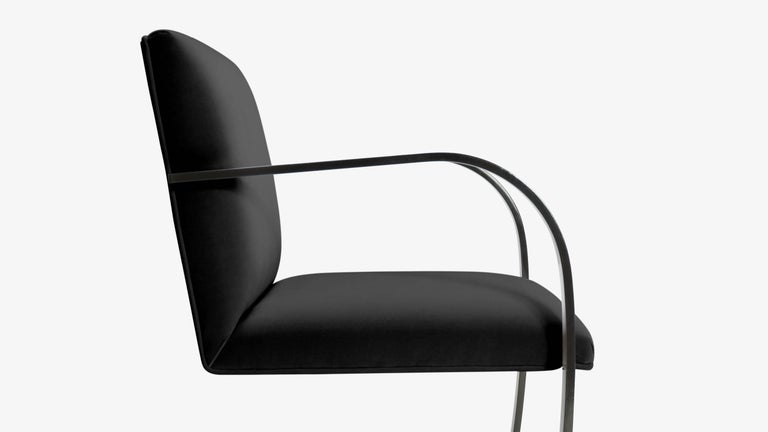 Powder-Coated Brno Flat-Bar Chairs in Noir Velvet, Obsidian Gloss Frame, Set of Six For Sale