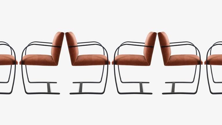 American Brno Flat-Bar Chairs in Rust Velvet, Obsidian Matte Frame, Set of Six For Sale