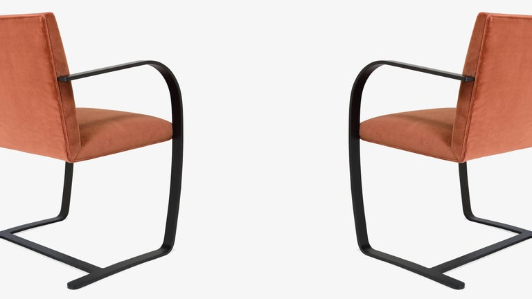 Brno Flat-Bar Chairs in Rust Velvet, Obsidian Matte Frame, Set of Six In Excellent Condition For Sale In Bridgeport, CT