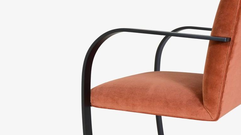 Brno Flat-Bar Chairs in Rust Velvet, Obsidian Matte Frame, Set of Six For Sale 1