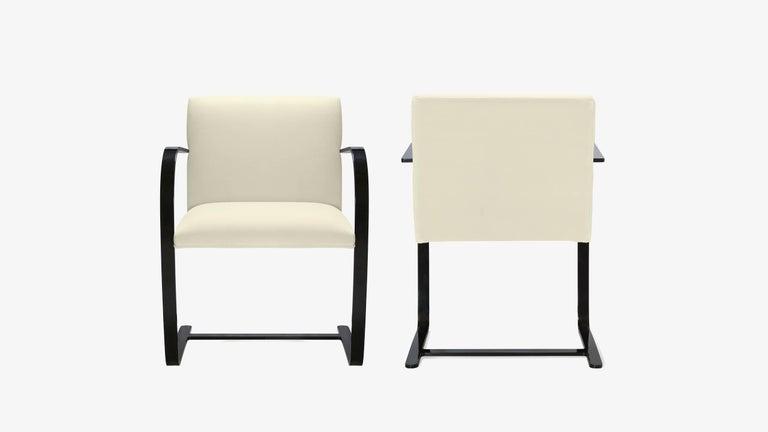 Mid-Century Modern Brno Flat-Bar Chairs in Snow Velvet, Obsidian Gloss Frame, Set of Ten For Sale